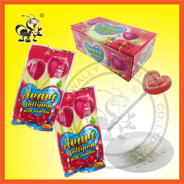 Box Package Sour Powder With Heart Shaped Lollipop
