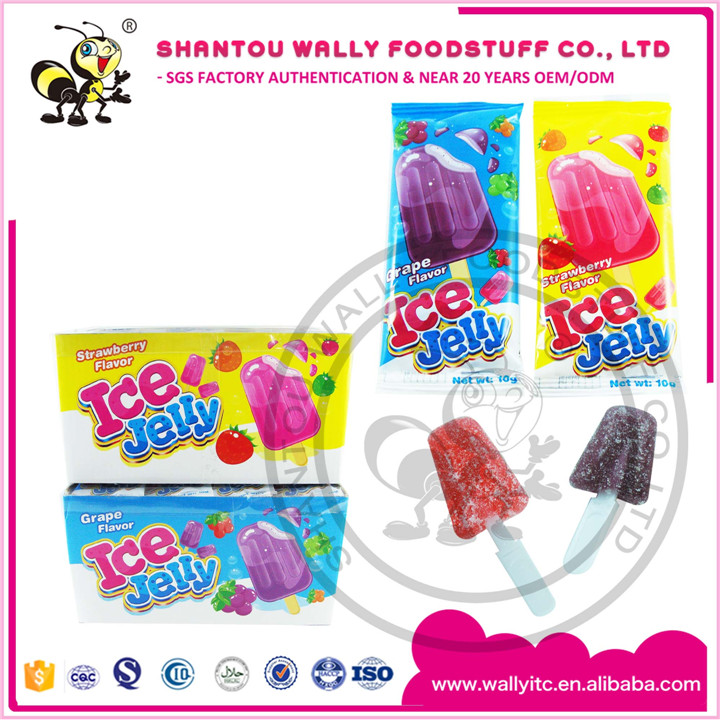 Ice Cream Shape Fruit Assorted Sugar Coated Jelly Pop Candy