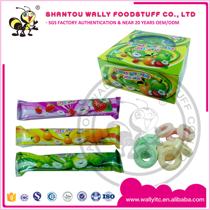 Three Kinds Of Fruity Flavor Dextrose Ring Roll Candy